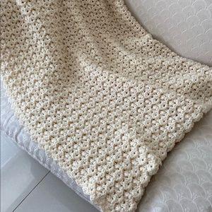 Cream handmade textured crochet Afghan blanket